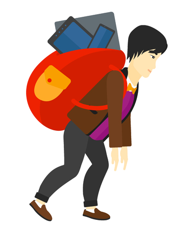 cary: An asian sad man walking with a big backpack full of different devices vector flat design illustration isolated on white background. Illustration