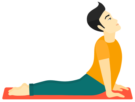 An asian man practicing yoga upward dog pose vector flat design illustration isolated on white background.