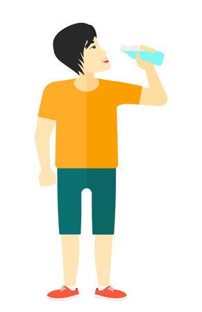 sportive: An asian sportive man drinking water vector flat design illustration isolated on white background.