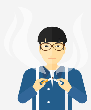 warning against a white background: An asian man breaking the cigarette vector flat design illustration isolated on white background.