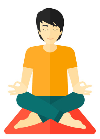 An asian man meditating in lotus pose vector flat design illustration isolated on white background. Illustration