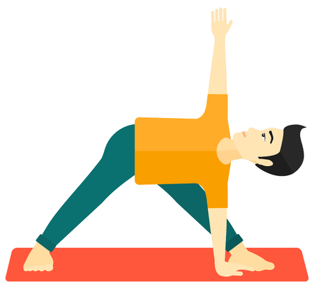 An asian man meditating in yoga triangle pose vector flat design illustration isolated on white background.