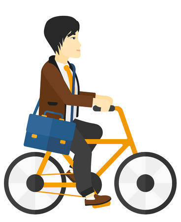 cycle suit: An asian man cycling to work vector flat design illustration isolated on white background.