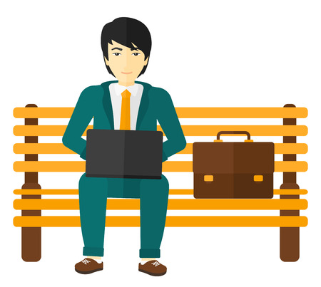 An asian man sitting on a bench and working on a laptop vector flat design illustration isolated on white background.