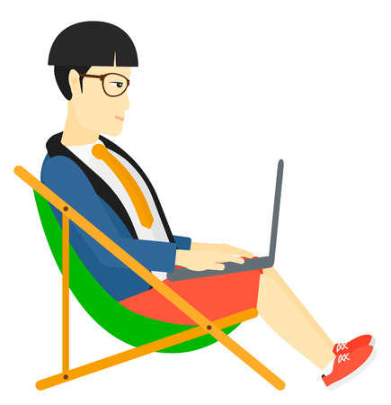 asian businessman: An asian businessman sitting in chaise lounge with laptop vector flat design illustration isolated on white background. Illustration