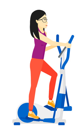 elliptical: An asian woman exercising on a elliptical machine vector flat design illustration isolated on white background.