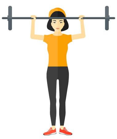 crossbar: An asian woman lifting a barbell vector flat design illustration isolated on white background.