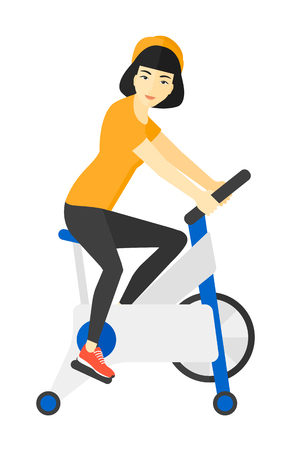 asian cartoon: An asian woman exercising on stationary training bicycle vector flat design illustration isolated on white background. Illustration
