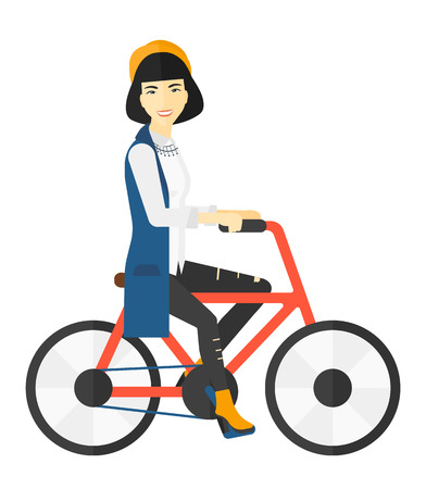 An asian happy woman riding a bicycle vector flat design illustration isolated on white background.