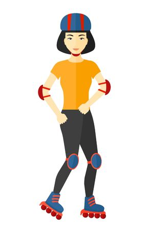 sporty: An asian sporty woman on the roller-skates vector flat design illustration isolated on white background.