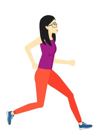 sportive: An asian sportive woman jogging vector flat design illustration isolated on white background.