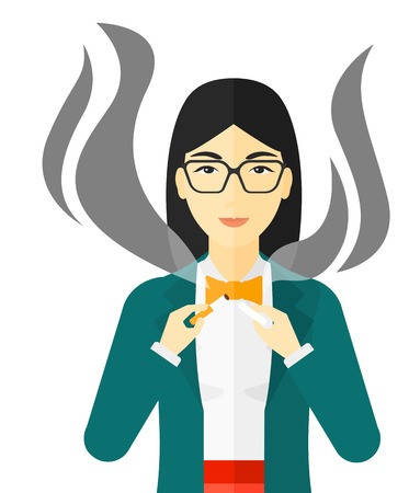warning against a white background: An asian happy woman breaking the cigarette vector flat design illustration isolated on white background. Illustration