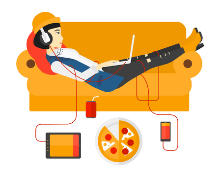An asian woman in headphones lying on a sofa with electronic devices and fast food vector flat design illustration isolated on white background.