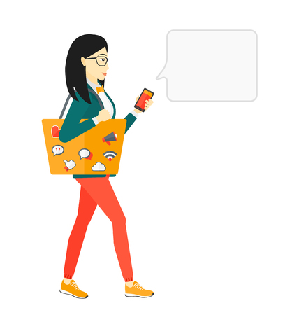 smart phone woman: An asian woman walking with a bag full of social media icons and holding a smartphone in hand vector flat design illustration isolated on white background.