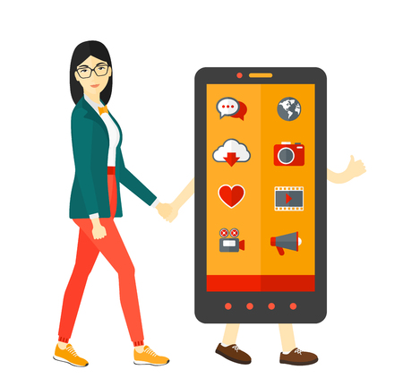 woman smartphone: An asian woman walking with a big smartphone vector flat design illustration isolated on white background.