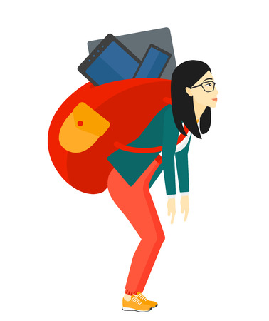 cary: An asian sad woman walking with a big backpack full of different devices vector flat design illustration isolated on white background.