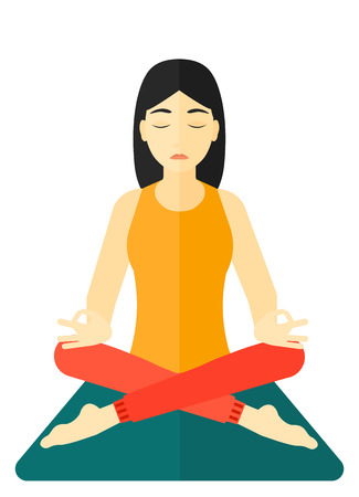 An asian woman meditating in lotus pose vector flat design illustration isolated on white background. Illustration