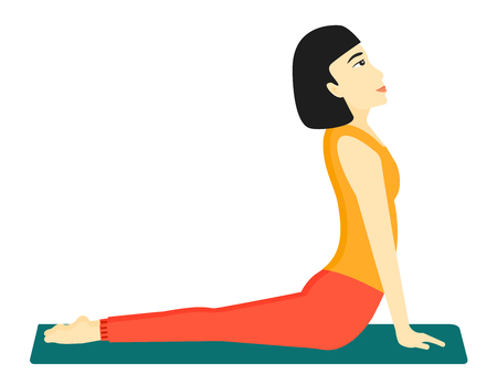 An asian woman practicing yoga upward dog pose vector flat design illustration isolated on white background.