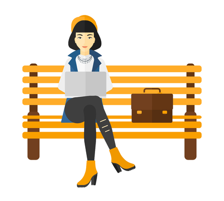 laptop outside: An asian woman sitting on a bench and working on a laptop vector flat design illustration isolated on white background. Illustration