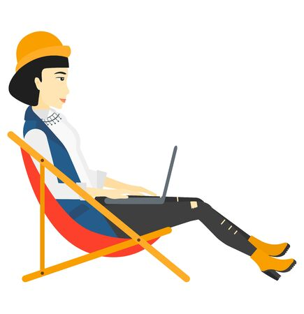asian business woman: An asian business woman sitting in chaise lounge with laptop vector flat design illustration isolated on white background. Illustration