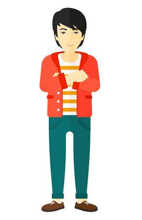 Een Aziatische man die zich met gekruiste armen vector platte ontwerp illustratie op een witte achtergrond. Stock Illustratie