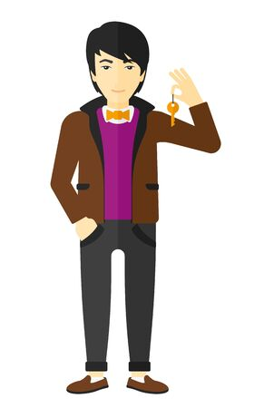 fullbody: An asian young man holding keys vector flat design illustration isolated on white background. Illustration