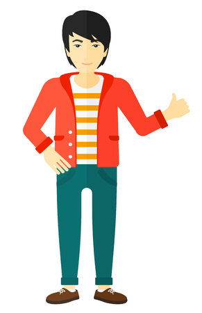 thumb up: An asian young man showing thumbs up sign vector flat design illustration isolated on white background.