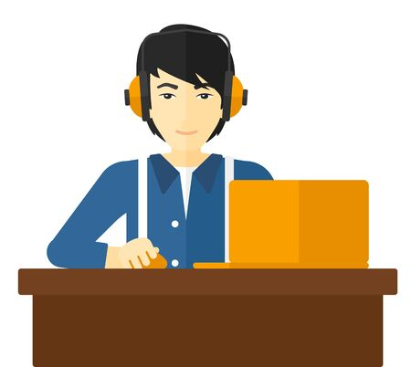 asian manager: An asian man sitting at the table and working at the laptop vector flat design illustration isolated on white background. Illustration