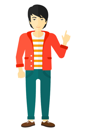 man pointing up: An asian man pointing up with his forefinger vector flat design illustration isolated on white background.