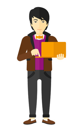 asian man laptop: An asian man standing with laptop in the hands vector flat design illustration isolated on white background. Illustration