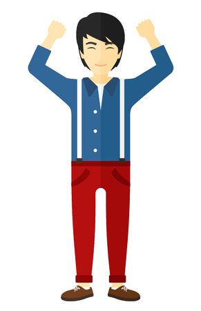 hands up: An asian man with raised hands up vector flat design illustration isolated on white background.