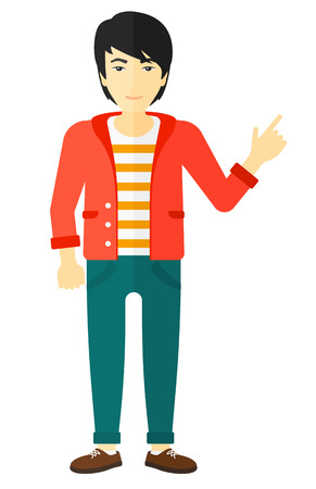 An asian man pointing up with his forefinger vector flat design illustration isolated on white background.