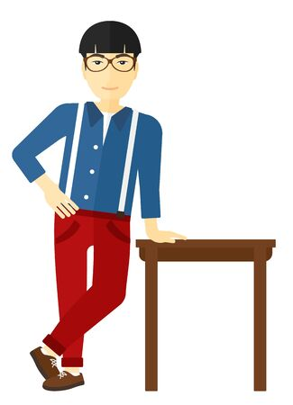 An asian man leaning on a table vector flat design illustration isolated on white background.