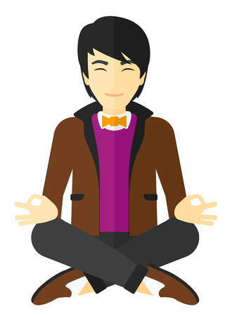man meditating: A smiling asian man meditating in lotus pose vector flat design illustration isolated on white background.