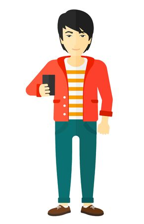 holding smart phone: An asian man making selfie vector flat design illustration isolated on white background.