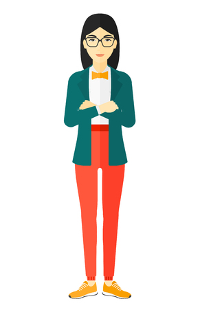 fullbody: An asian woman standing with crossed arms vector flat design illustration isolated on white background.