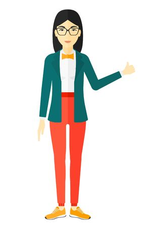 An asian woman showing thumbs up sign vector flat design illustration isolated on white background. Illustration