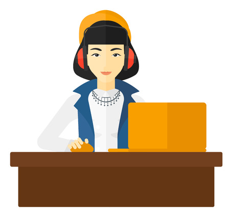 woman laptop: An asian woman sitting at the table and working at the laptop vector flat design illustration isolated on white background. Illustration
