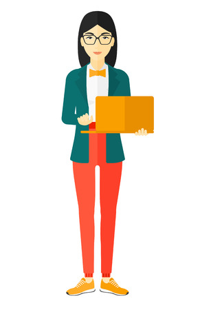 An asian woman standing with laptop in hands vector flat design illustration isolated on white background.