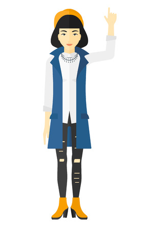 forefinger: An asian woman pointing up with her forefinger vector flat design illustration isolated on white background. Illustration