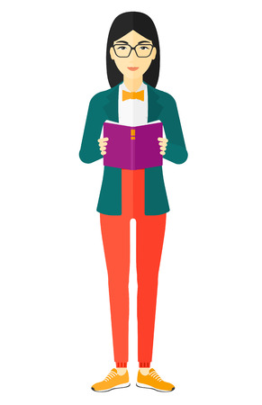 An asian woman standing and reading a book vector flat design illustration isolated on white background.