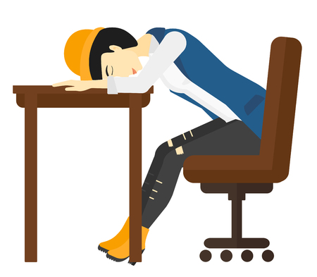 sleepy woman: An asian woman sleeping on table vector flat design illustration isolated on white background. Illustration