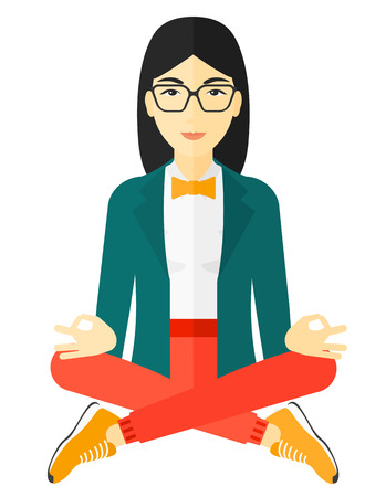 flexible girl: An asian woman meditating in lotus pose vector flat design illustration isolated on white background. Illustration