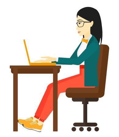 concentrating: An asian woman sitting at the table and working at the laptop vector flat design illustration isolated on white background. Illustration