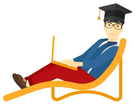 graduate asian: An asian man in graduation cap lying in chaise long with laptop vector flat design illustration isolated on white background. Illustration
