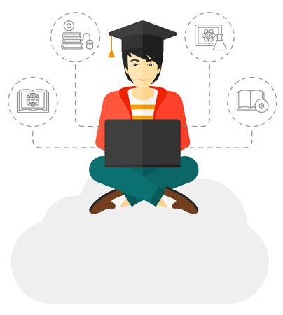 graduate asian: A graduate sitting on the cloud looking at the laptop screen and some icons connected to the laptop vector flat design illustration isolated on white background.