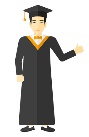 student study: Graduate in cloak and hat showing thumb up sign vector flat design illustration isolated on white background. Illustration