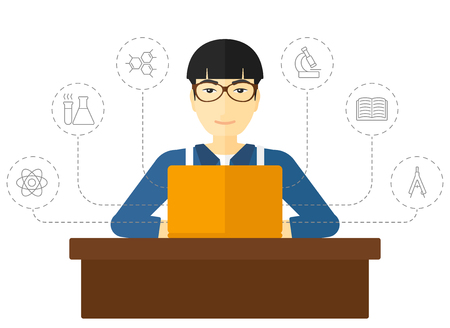 sciences: An asian man sitting at the table and looking at the screen of laptop connected with icons of school sciences vector flat design illustration isolated on white background.
