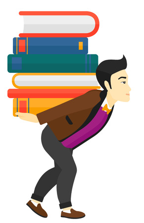 man carrying: An asian man carrying a pile of books on his back vector flat design illustration isolated on white background.