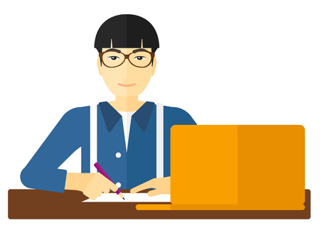asian man laptop: An asian man sitting in front of laptop and taking some notes vector flat design illustration isolated on white background.